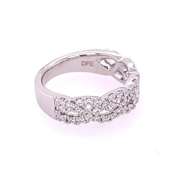 Crisscross Diamond Wedding Band in White Gold