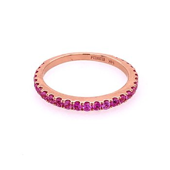 Pink Sapphire Band in Rose Gold