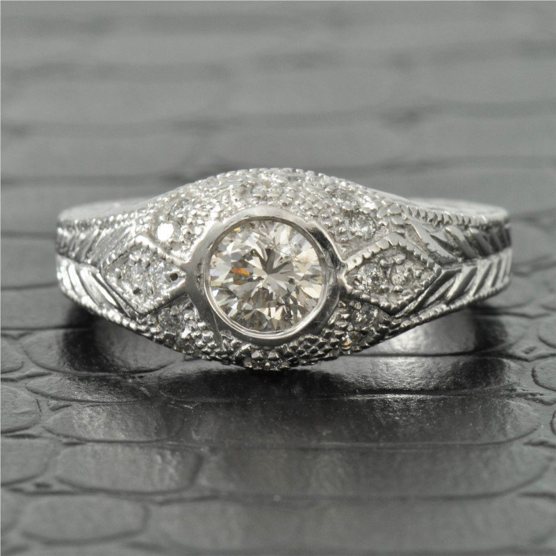Perry's Estate Collection 0.23 Carat Round Brilliant Cut Bezel Set Diamond Engagement Ring