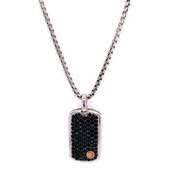 Black Sapphire Dog Tag Style Pendant with Rose Gold Accent