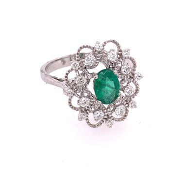 Emerald and Diamond Openwork Ring in White Gold