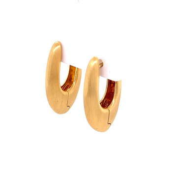 Oblong Gold Hoops with Brushed Finish