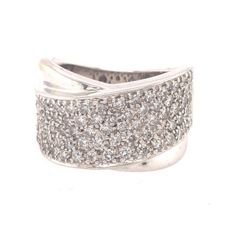 Wide Diamond Crossover Style Ring in White Gold
