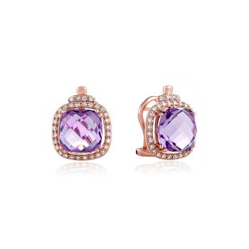 Amethyst and Diamond Earrings in Rose Gold