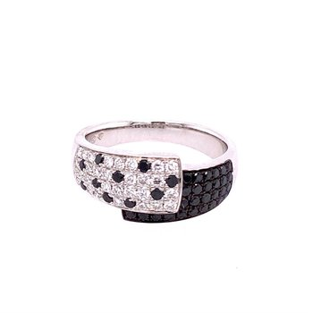 White and Black Diamond Ring in White Gold