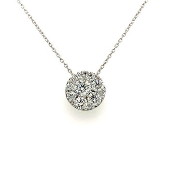 Diamond Circle Pendant Necklace in White Gold