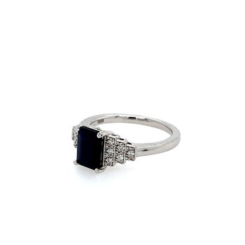 Emerald Cut Sapphire Ring with Diamond Accents