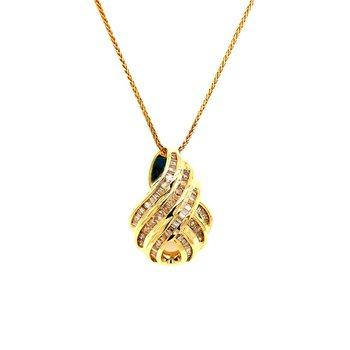 1.27 ctw. Channel Set Diamond Pendant in Yellow Gold