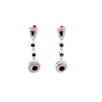 Sapphire and Diamond Drop Earrings in White Gold