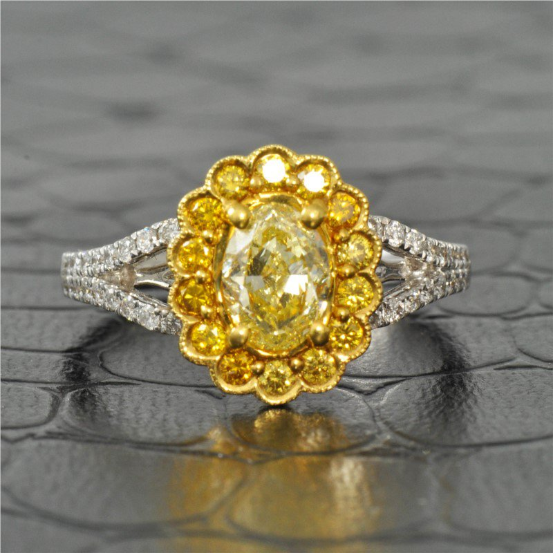 Jewels By Jacob 0.81 Carat Fancy Yellow Oval Cut Diamond Halo Engagement Ring