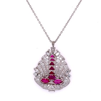 Vintage Art Deco Ruby and Diamond Pendant in Platinum