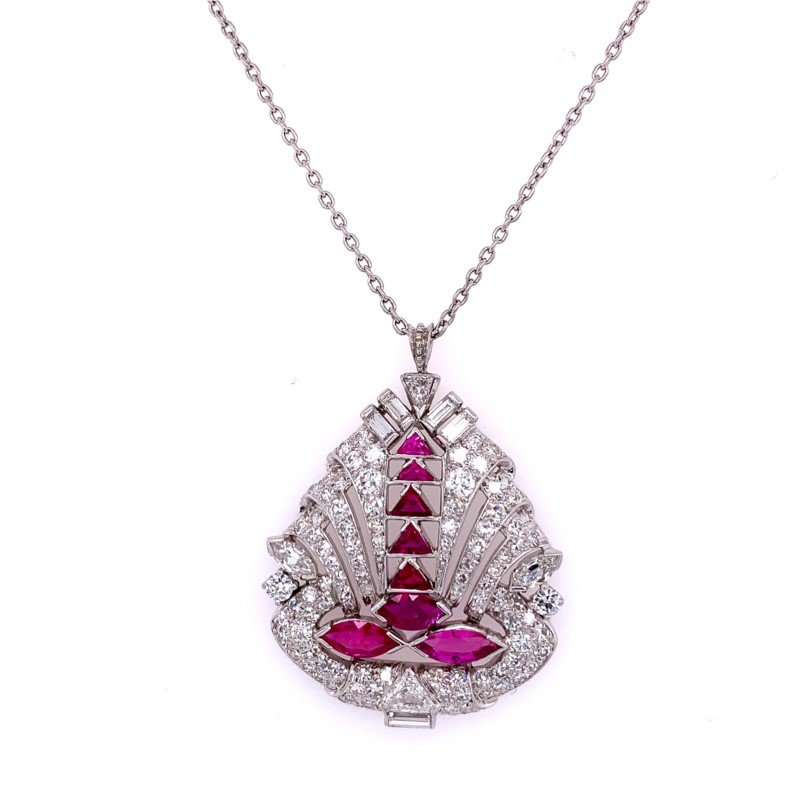 Perry's Estate Collection Vintage Art Deco Ruby and Diamond Pendant in Platinum