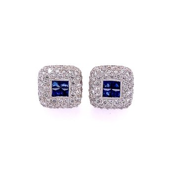 Sapphire and Diamond Stud Earrings in 18k White Gold