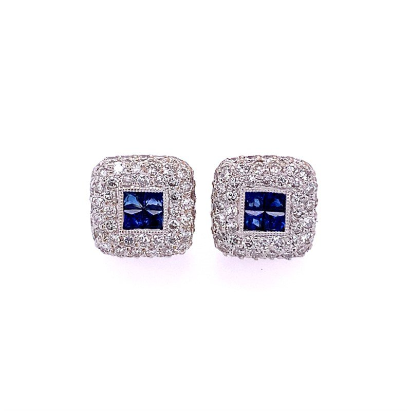 Perry's Estate Collection Sapphire and Diamond Stud Earrings in 18k White Gold