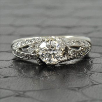 0.75 Carat Round Brilliant Cut Diamond Engagement Ring in White Gold