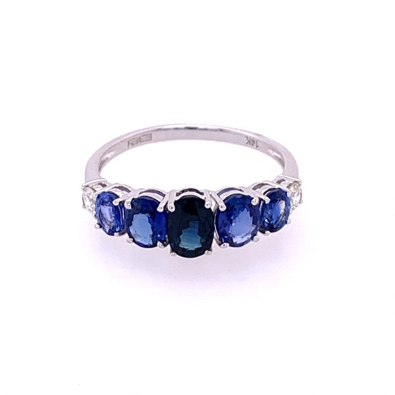 Effy Sapphire and Diamond Band in White Gold
