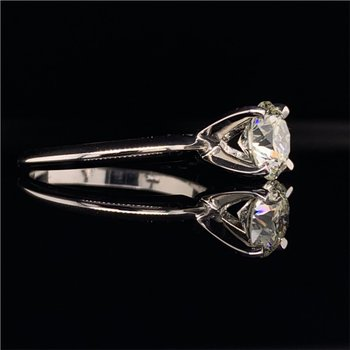 GIA 1.21 Carat K-VS2 Round Brilliant Cut Diamond Engagement Ring in White Gold