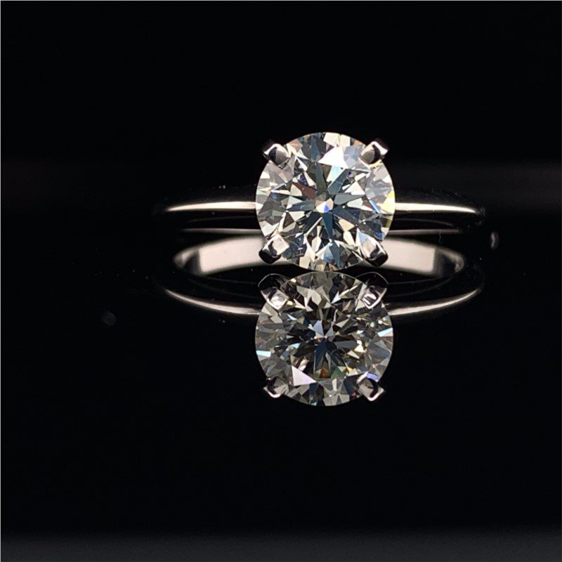 Perry's Estate Collection GIA 1.21 Carat K-VS2 Round Brilliant Cut Diamond Engagement Ring in White Gold