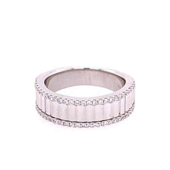 Facted White Gold and Diamond Band