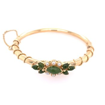 Vintage Nephrite Jade and Pearl Bangle in Yellow Gold