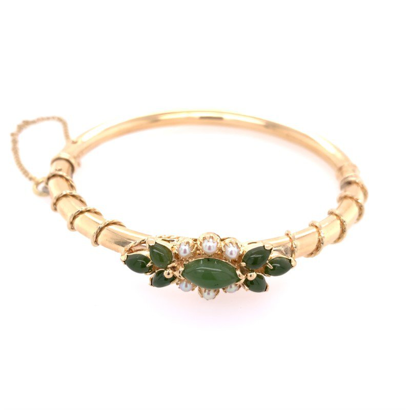 Perry's Estate Collection Vintage Nephrite Jade and Pearl Bangle in Yellow Gold