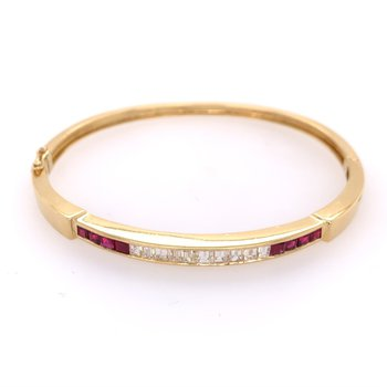 Ruby and Diamond Bangle Bracelet in Yellow Gold