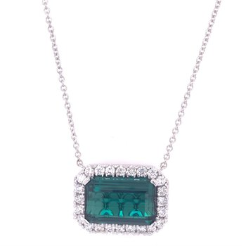 Green Tourmaline and Diamond Necklace in White Gold