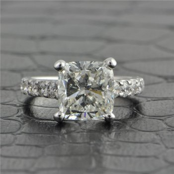 3.32 ct. J-VS2 Cushion Cut Diamond Engagement Ring