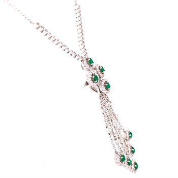 Emerald Chandalier Style Pendant in 18k White Gold