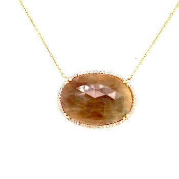 Brown Sapphire Slice Necklace in Yellow Gold
