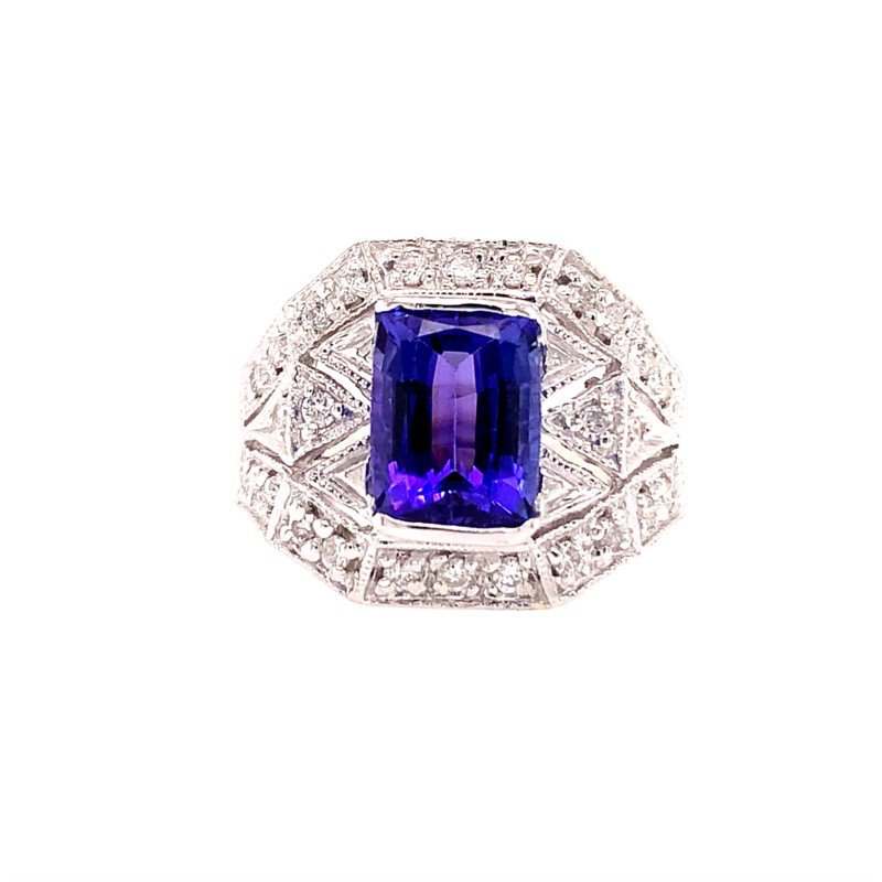 Perry's Estate Collection 2.0 Carat Cushion Cut Tanzanite and Diamond Ring in White Gold