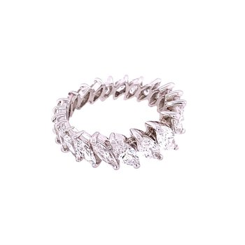 Marquise Cut Diamond Eternity Band in Platinum Size 4.25