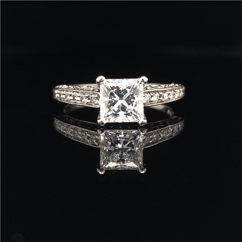 Perry's Estate Collection Scott Kay 1.15 Carat Princess Cut Diamond Engagement Ring