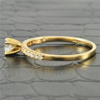 Petite Diamond Engagement Ring in Yellow Gold