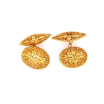 Cannetille Filigree 22k Gold Cuff Links
