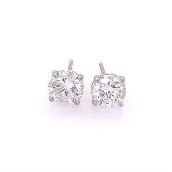 2.06 CTW Diamond Stud Earrings in White Gold