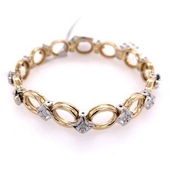 Open Work Two Tone Diamond Bracelet