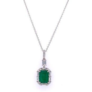 Emerald and Diamond Pendant in White Gold