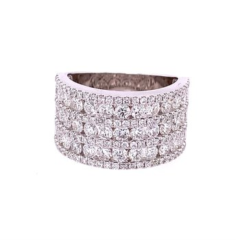 Multi Row Diamond Band in 18k White Gold