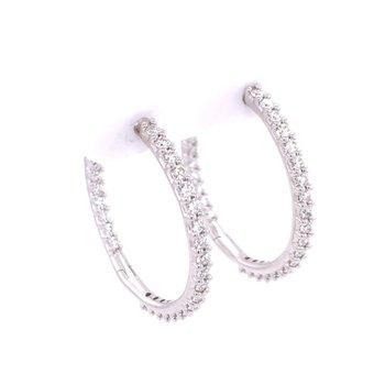 1.98 CTW Diamond Hoop Earrings in 18k White Gold