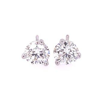 2.10 CTW Perfect Cut Diamond Stud Earrings in White Gold