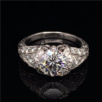 1.64 Carat F-VVS2 Round Brilliant Diamond Engagement Ring in Platinum