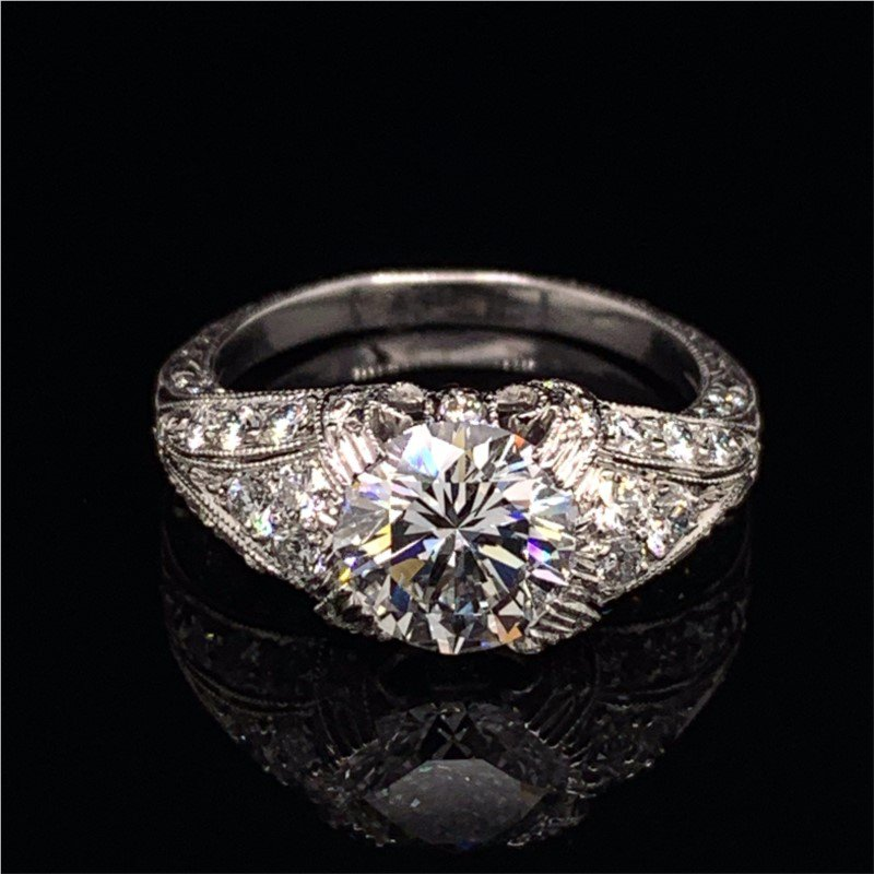 Perry's Estate Collection 1.64 Carat F-VVS2 Round Brilliant Diamond Engagement Ring in Platinum