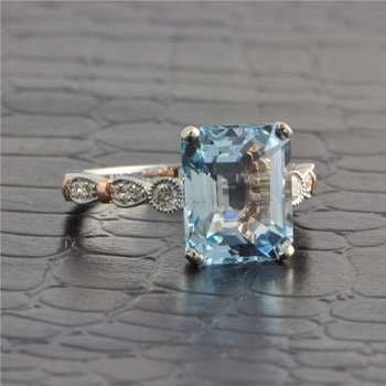 Aquamarine and Diamond Ring in Rose and White Gold