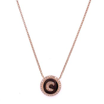"""C"" Disc Necklace in Rose Gold"