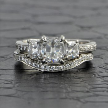 Platinum Cushion Cut Diamond Bridal Set