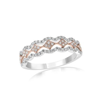 Two Tone Open Work Diamond Band