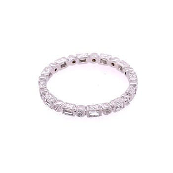 Baguette and Round Cut Diamond Eternity Band in 18k White Gold