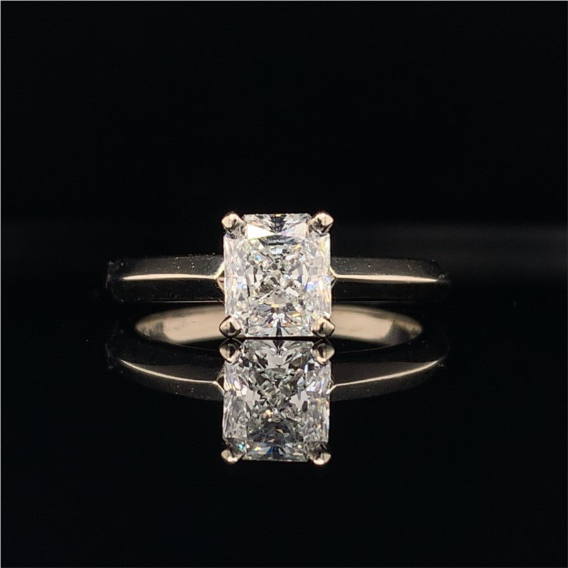 Perry's Estate Collection GIA 1.04 Carat SI1-G Radiant Cut Diamond Engagement Ring
