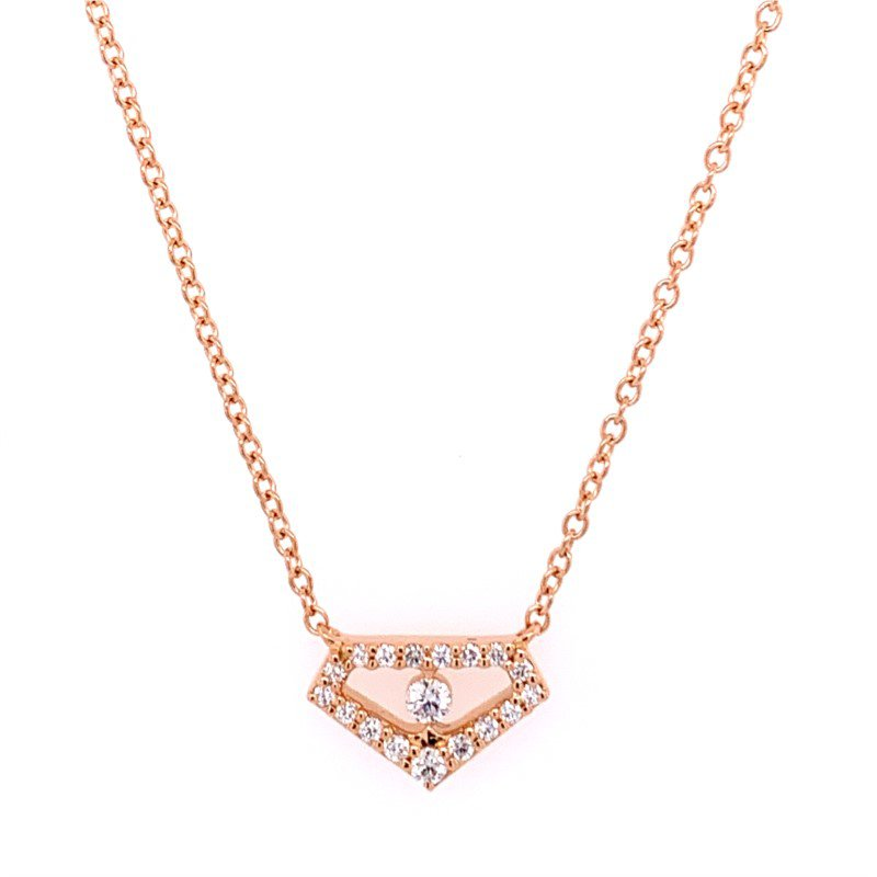 Hearts On Fire Geometric Diamond Necklace in 18k Rose Gold